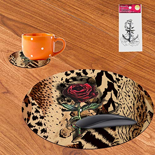 Round Mouse Pad and Coaster Set Temporary Tattoo,Red Flower in Leopard Print Design Round Non-Slip Rubber Mouse Pads Office Desk Accessories for Computers Laptop