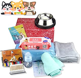 9 in 1 Puppy Whelping Nursing Kit for Newborn Dogs Cats Record Charts 12 Color ID Collars Underpad Coral Fleece Blanket Absorbent Towel Feeding Bottle Bowl Cotton Swab Wipes All in One Set for Pet Own