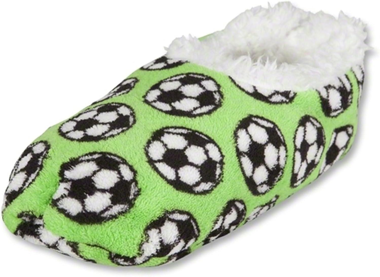 Snoozies Soccer Slippers (Green, Med Women (7 8))