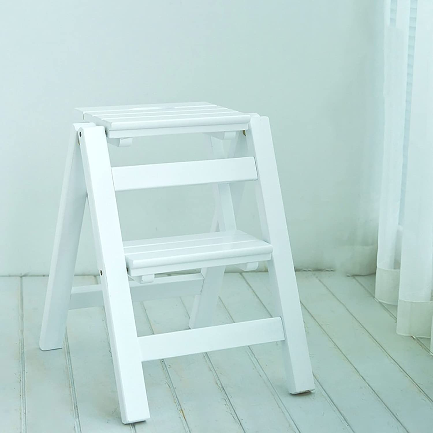 WFFXLL Step Stool Solid Wood Fold Stair Chair Household Ladder Two Steps Multifunction Indoor Ascend The Small Ladder Step Stool (color   C)
