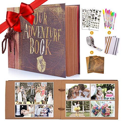 """album fotografico up MMTX Album Fotografico Pagine Bianche Album per Foto per Scrapbooking""""Our Adventure Book""""(80 Pagine) per Compleanno"""