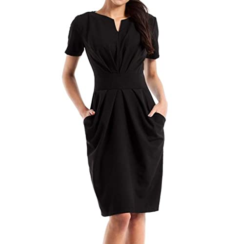 674ffe8b43 Jacansi Women V Neck Pleated Work Business Bodycon Pencil Dress with  Pockets UK 8-16