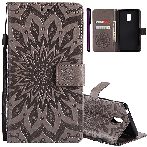 ISADENSER for Nokia 6 Case Nokia 6 Wallet Case for Women Sunflower Series with Shockproof and Kickstand Card Slots Holder Flip Magnetic Closure Protection for Nokia 6 (2017) Gray Sunflower