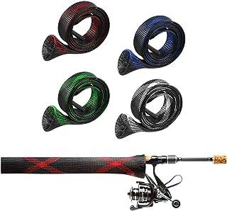 Merit Choice釣りロッドカバー釣りロッドスリーブカバー編組ケーブルスリーブ釣り竿プロテクターカバー拡張可能釣り竿ケースフィッシングロッド170 cm 4点セット