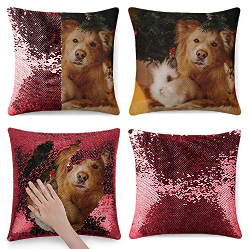 Tamengi Sequin Pillow Cover, Group of Pets Posing Under A Christmas Tree, Zipper Pillowslip Pillowcase, Decorations for Sofas, Armchairs, Beds, Floors, Cars