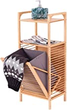 Bamboo bathroom shelf with Removable laundry basket, bathroom shelf bathroom cabinet with folding laundry bag, for bathrooms