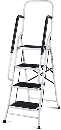 new arrival Giantex 2 in 1 Non-Slip Step Ladder Folding Stool w/ Anti-Slip Handrails Grip and Additional Metal high quality Bars 4 Step Ladder for Home and discount Office Use 62.5''H outlet online sale