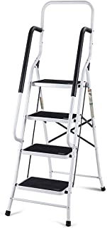 Giantex 2 in 1 Non-Slip Step Ladder Folding Stool w/Anti-Slip Handrails Grip and Additional Metal Bars 4 Step Ladder for Home and Office Use 62.5''H