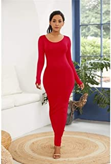 FDBZ Plus Size Long Sleeve Turtleneck Stretchy Long Dress Summer Women Solid Casual Slim Bodycon Package Hip Dresses,YD1113 Red,5XL