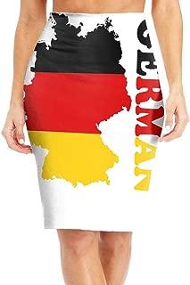 ZSJRH-M Women's Sexy Slim Mid Skirt German Flag Map High Waist Bodycon Pencil Knee Length Skirt Bandage Dress
