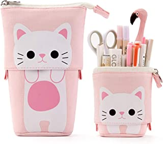 EASTHILL Cartoon Cute Cat Pencil Pouch Canvas Pen Bag Standing Stationery Case Holder Box Student Girl Adult (Pink)