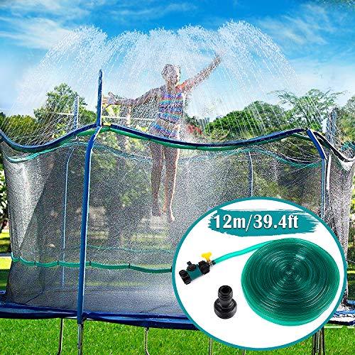Toyssa Trampolin Sprinkler Spielzeug für Kinder, Outdoor Trampolin Wassersprinkler Spaß Wasserpark Sommer Wasserspiel für Jungen Mädchen im Freien Garten Yard (12M, 39 Fuß)