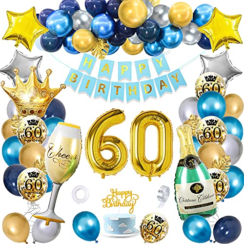 60 Geburtstag Mann Frau Deko, SWPEED Blau Gold Deko 60 Geburtstag Mann, 60 Geburtstag Deko, 60. Geburtstag Geburtstagsdeko kits mit Navy Blau Silber Gold luftballons, Gold Konfetti luftballons
