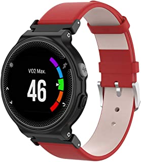 Compatible Garmin Forerunner 735xt Band, Womdee Premium Genuine Leather Replacement Strap for Garmin Forerunner 220/230 /235/630 /620 /735XT /Approach S20 /S5 /S6 Smart Watch Red