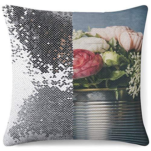 DKE&YMQ Funda de almohada con purpurina, diseño de flores, flores, flores, flores, flores y flores