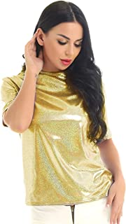 Womens Sparkly Shiny Metallic Short Sleeves Casual Loose Top Tee Shirt