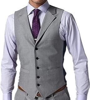Men's Slim Fit Business Suit Vest Single Breasted V-Neck Waistcoat