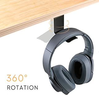 Headphone Hanger 360 Degree Rotating, Hommie Headset Holder with Cable Clip Universal for All Headphones, Black
