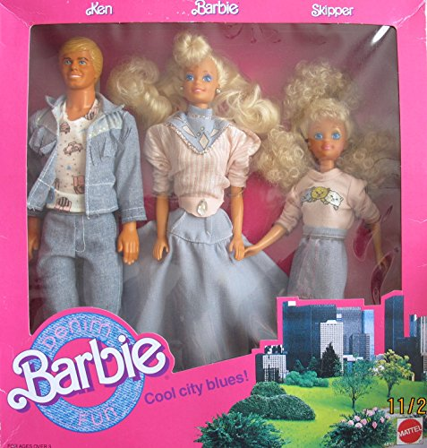 Barbie Denim Fun Cool City Blues 3 Doll Set w Ken, BARBIE & Skipper Dolls (1989 Mattel Hawthorne)