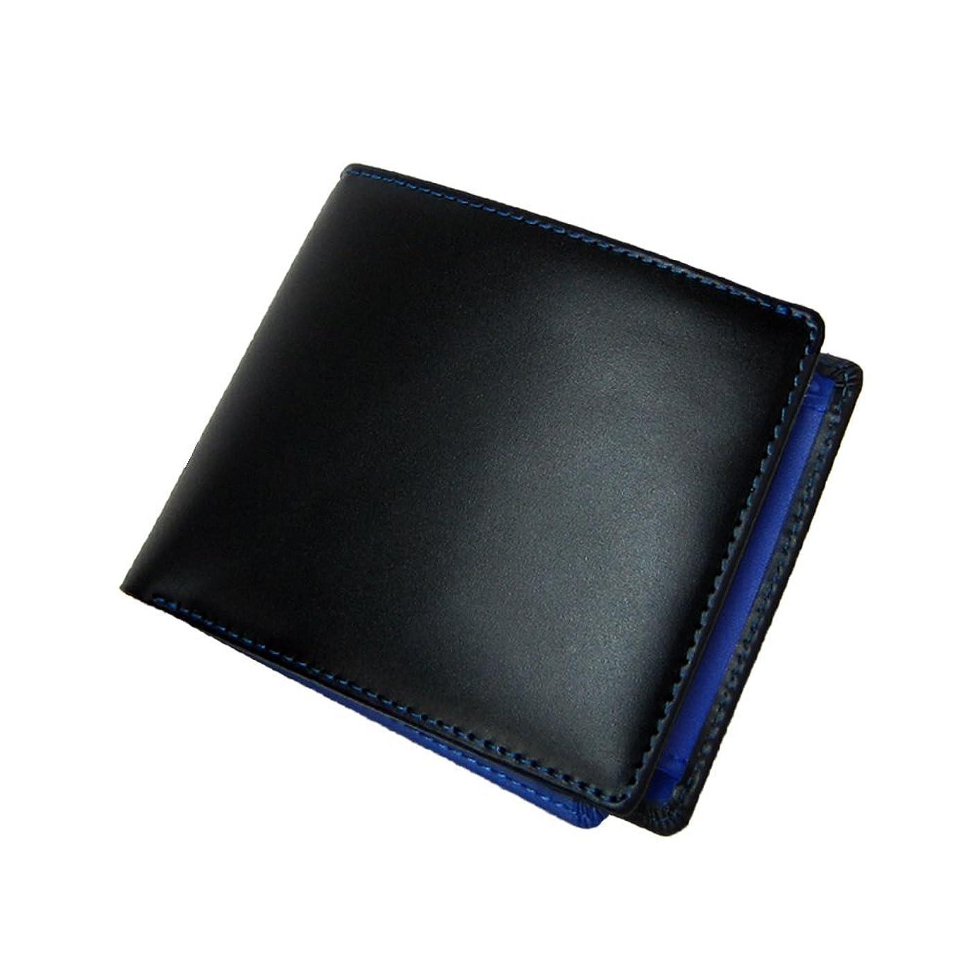 混乱したアンカーマージ[マトゥーリ]Maturi エグゼクティブ コードバン 二つ折財布 黒×BL MR-009