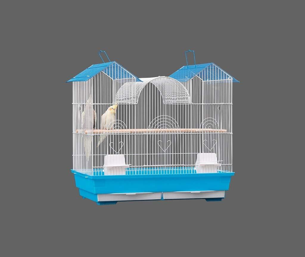 Pet supplies Las Aves de cría, Cajas de Doble Techo Galvanizado Birdcages la Jaula de pájaros Observación con asa y Bandeja de plástico Soportes para jaulas (Color : A, Size : 61 * 38 * 51CM)