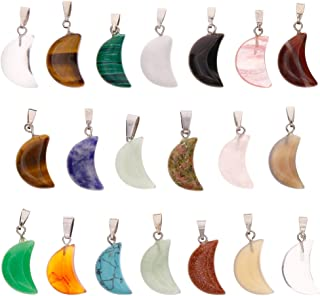 Keyzone Wholesale 20 Pieces Crescent Moon Shaped Charms Crystal Chakra Healing Point Reiki Charms for DIY Necklace Jewelry Making, Assorted Color