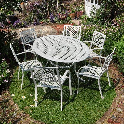 Lazy Susan Aluguss Gartenmöbel Set Weiße Nicole 180cm Ovale Gartensitzgruppe Aluminium - 1 Weißer NICOLE Tisch + 6 Weiße MARIA Stühle