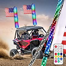Niwaker 2Pcs 3ft LED Whip Lights with RF Remote Control 360° Spiral Lighted Whips RGB Dancing/Chasing Light Antenna LED Whips for ATV UTV RZR Polaris Off Road Truck Buggy Dune 4X4 SXS