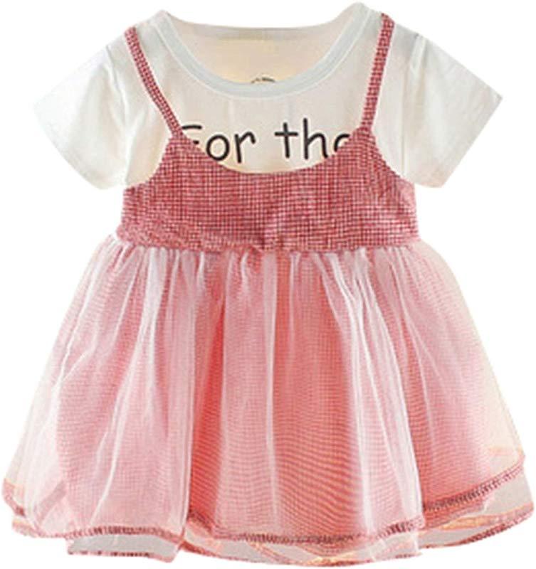 Ivyi Miniskirt Summer Girl Frilled Mesh Sling Solid Color Princess 0M 24M 19Apl10 Red 6M