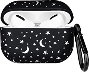 Forrrest Airpods Case Cover for Apple AirPods Pro Star Moon Starry Sky Print Design Silicone Protective Skin Airpods Pro Accessories with Keychain for Girls Women Boys (Sky)