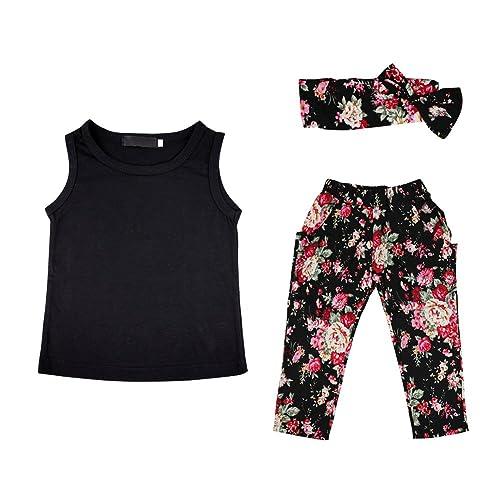 4144ace6da086 CHIC-CHIC 3pc Ensemble Enfant Fille Pure Couleur Vest Petit Brisé Fleur  Hairband Pantalons Legging