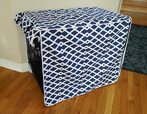 528zone Modern Blue Marine Dog Pet Wire Kennel Crate Cage House Cover...