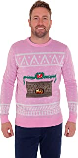 DigitalDudz Crackling Fireplace Christmas Jumper Fun App Connected Knit Sweater