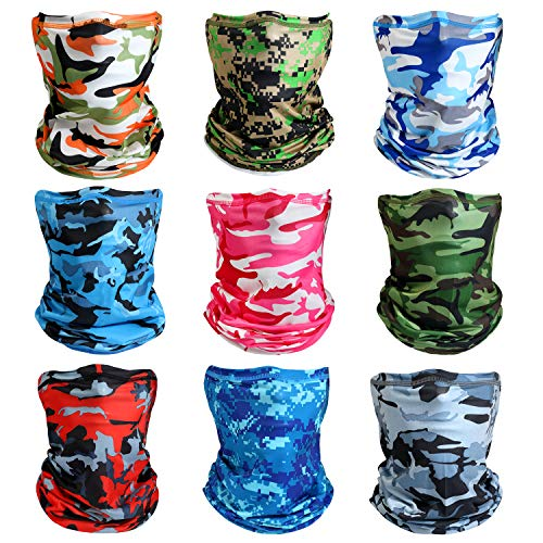 Neck Gaiter Face Mask, Breathable Bandana Balaclava Mask UV Protection for Men Women Summer Sports 9 Pieces Camouflage