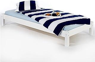 IDIMEX Lit futon Simple pour Adulte Taifun 90 x 200 cm, 1 Personne, 1 Place, pin Massif lasuré Blanc