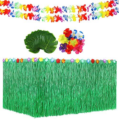 SJFEEVOR Tropical Party Decoration Set with Hawaiian Table Skirt, Palm Leaves, Hawaiian Flowers and Leis Garland for Hawaiian Luau Party Table Decorations