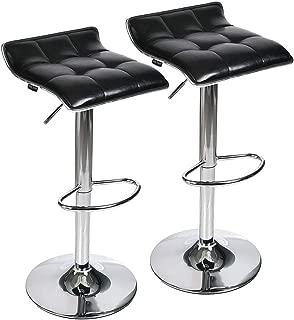 Set of 2 Adjustable Swivel Gas Lift Barstools, PU Leather with Chrome Base, Black