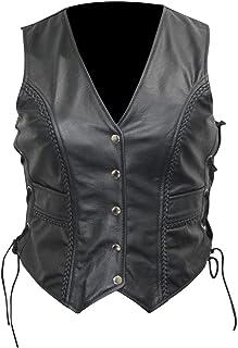 Chaleco de piel de vaca para mujer, color negro (3XL)