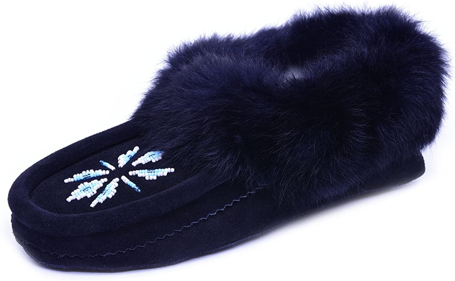 Eucoz Suede Moccasin Women Slippers with Rabbit Fur Collar, Soft Sole, Cozy Warm Fleece Lined Black