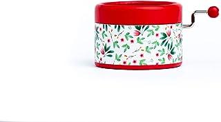 Caja de música manual artesanal roja con estampado de flores y la melodía principal de la película La bella y la bestia