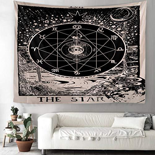 WAZA Tarot Estrella Tapiz Colgante de Pared Zodiaco Tapices de Pared Astrología Meditación Tapiz Arte Decoración para Dormitorio Sala de Estar Dormitorio Manta Mantel Esteras de Playa