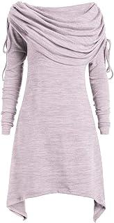 Talla Extra Sudadera Sin Capucha Mujer Largo Blusas Camiseta de Manga Larga Cuello Redondo Suelto Túnica Casual Basic Pull...