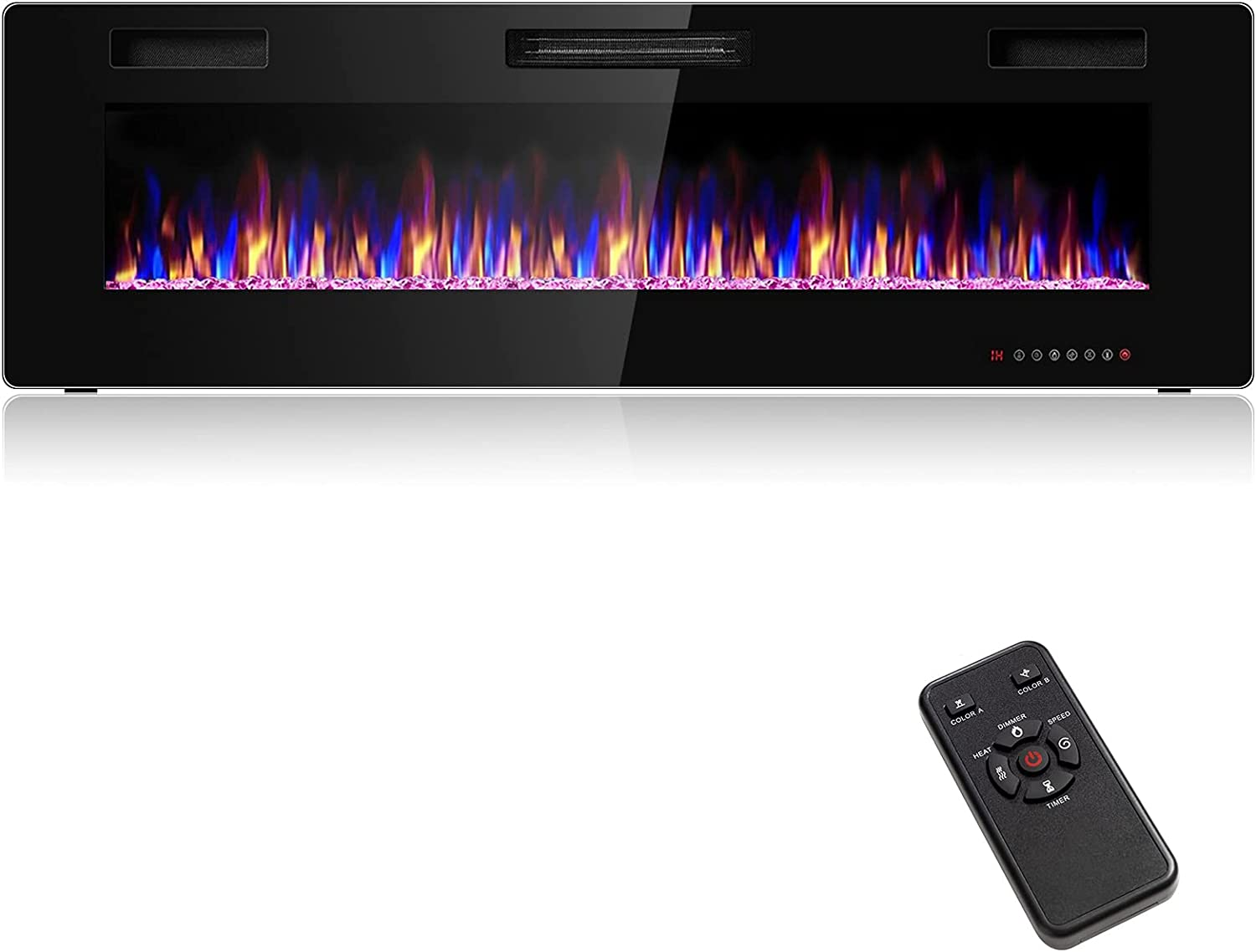 Rainfally 60 Inches Max 89% OFF Electric Mounted Wall w Boston Mall Fireplace