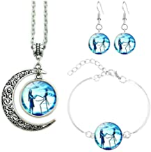 Jack and Sally Nightmare Before Christmas Moon Pendant Necklace, Earrings, Bracelet, Charms Gift (A)