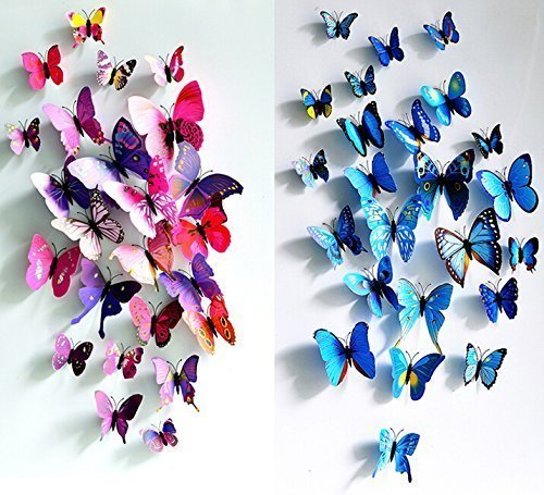 Simoshaw 12 pcs Purple + 12 pcs Blue 3D Butterfly Stickers Random Mixed Packing Home Decoration DIY Removable 3D Vivid Special Man-made Lively Butterfly Art DIY Decor Wall Stickers for Wall Decor Kids Room Bedroom Living Room by AWAKINK