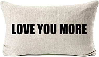 MFGNEH Love You More Cotton Linen Sofa Decor Pillow Covers 12 x 20 Inches, Mom Gifts Throw Pillow Case Cushion Cover,Mom Birthday Gifts