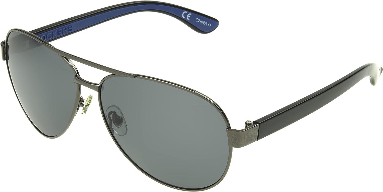 Dockers Men's Bo Sunglasses Polarized Aviator, Gunmetal, 54mm