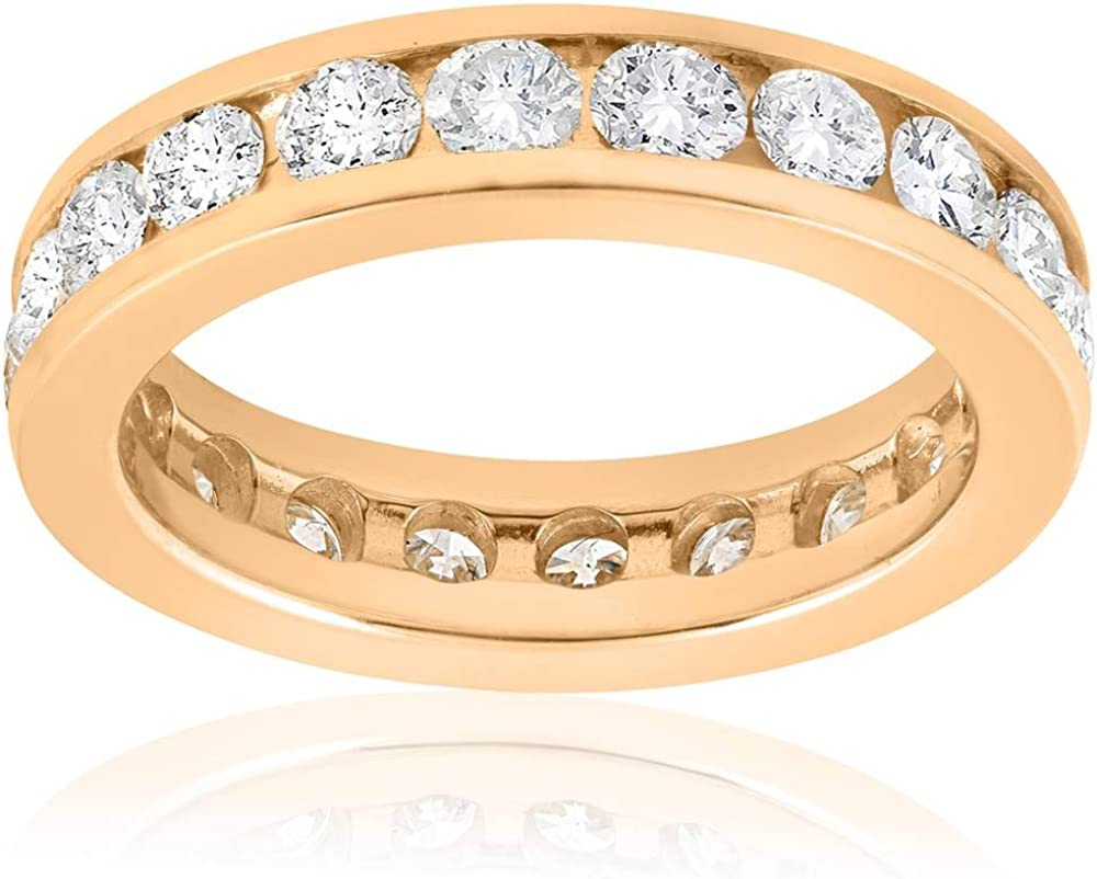 2ct Channel Set Diamond Eternity lowest price Ring Yellow 14K Gold 55% OFF