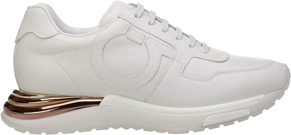 Salvatore ferragamo brooklyn , sneakers per  donna,in vera pelle e dettaglio in suede sul tallone 035775 736881