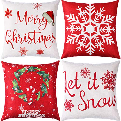 Jetec 4 Pieces Pillow Case Throw Cushion Cover Linen Pillow Decorations for Halloween Thanksgiving Christmas Autumn, 18 by 18 Inch (Eye-catching Color)